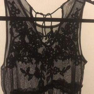Sheer mesh black dress